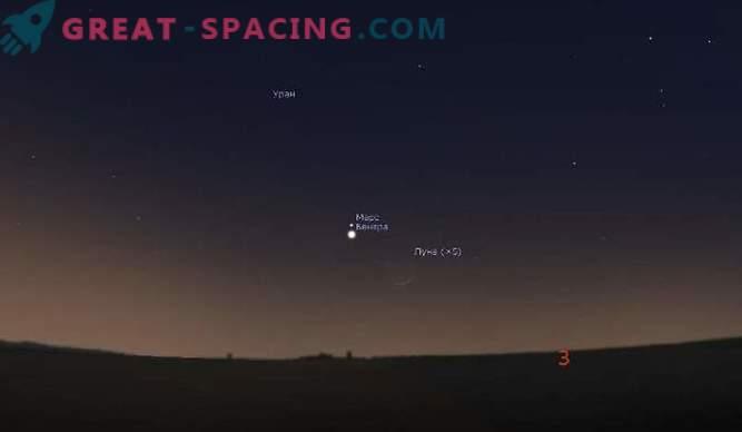 20. und 21. Februar Dreifachkonjunktion: Mond, Venus und Mars!