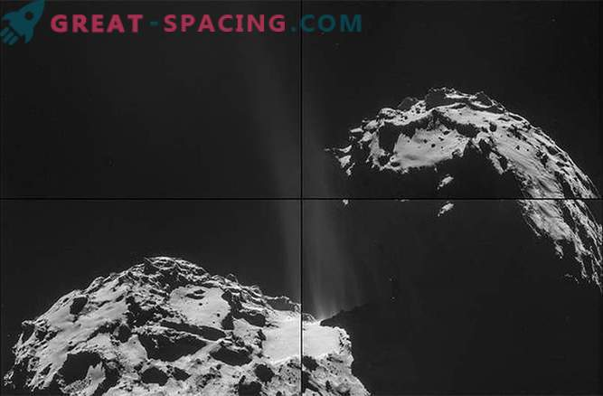 Rosetta sah Dampfstrahlen von der Oberfläche des Kometen Churyumov-Gerasimenko entweichen.